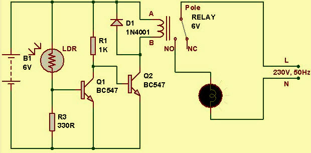 automobile wiring diagram power circle light sensor circuit with working operation
