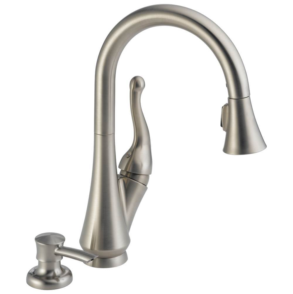 talbott single handle pull down kitchen faucet with soap dispenser