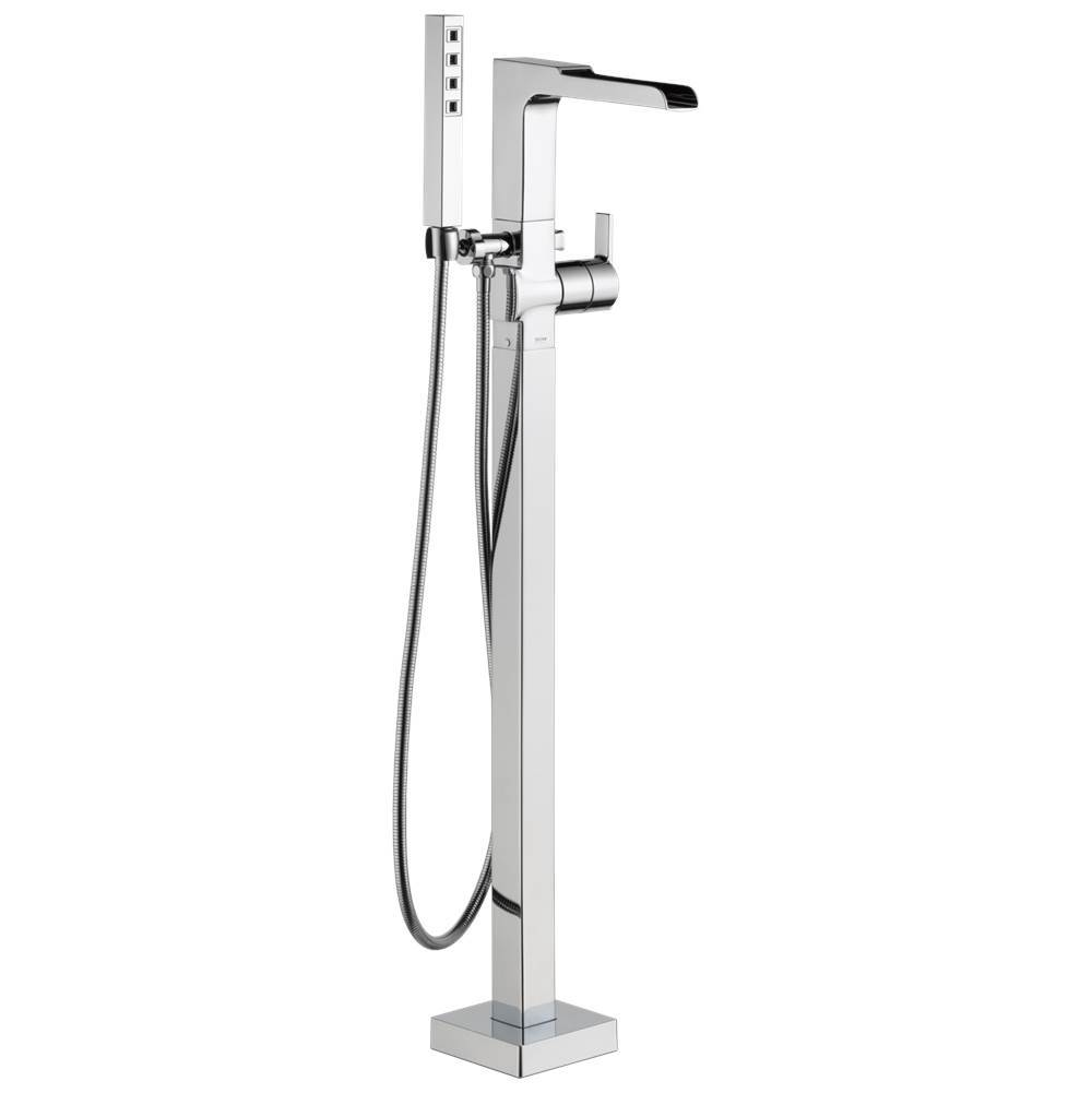 ara single handle floor mount channel spout tub filler trim with h
