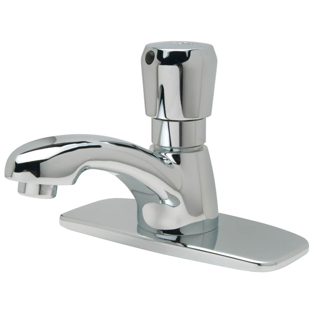 aquaspec single hole metering faucet deck mount with 1 0 gpm spra