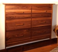 Walnut Post Modern TV Cabinet With Faux front Drawer ...
