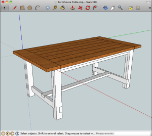 Free plans for a rustic farmhouse table a lesson learned for Table design sketchup
