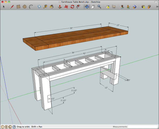 SketchUp model of the rustic farmhouse table bench with benchtop raised to show the construction and dimensions