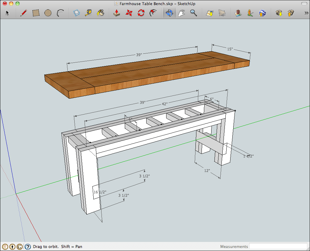 Perfect SketchUp Model Of The Rustic Farmhouse Table Bench With Benchtop Raised To  Show The Construction And