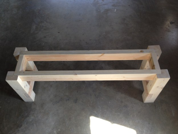 testing the runstic farmhouse table bench for fit and squareness
