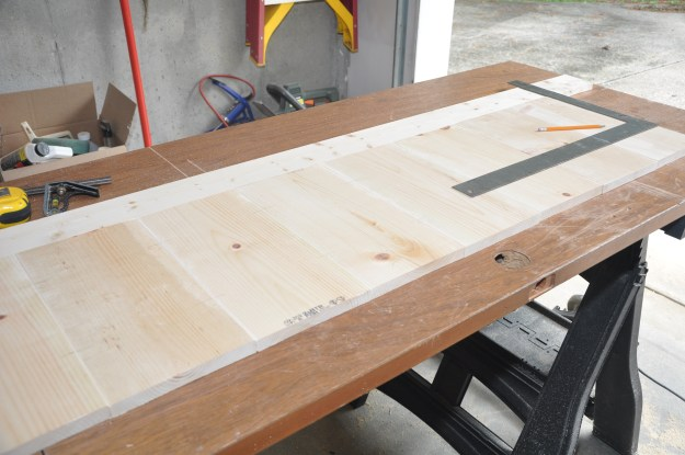 Lining up the panels for the footboard