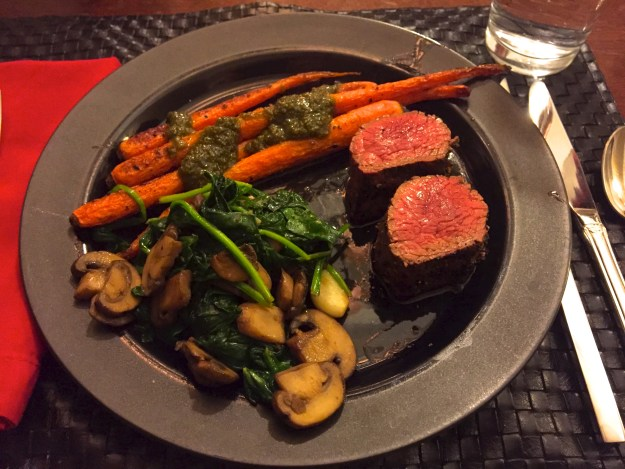 Served with petite shoulder tender and roasted carrots with pesto sauce.