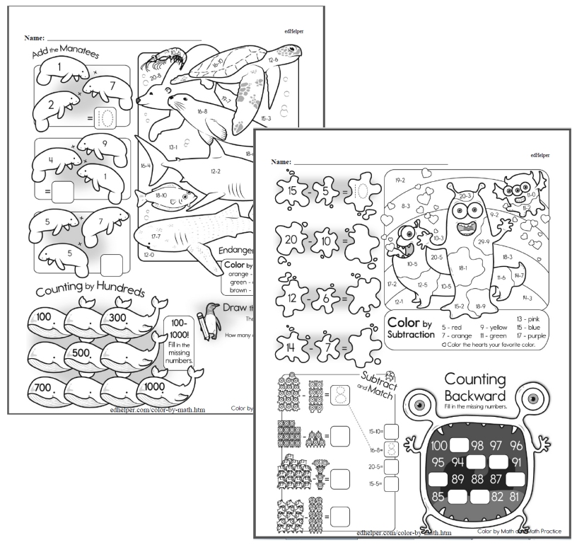 Coloring Pages using Math that you will Want to Print
