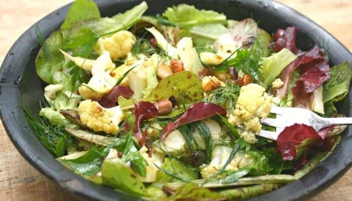 Roast Cauliflower Salad with Prune and Honey Dressing