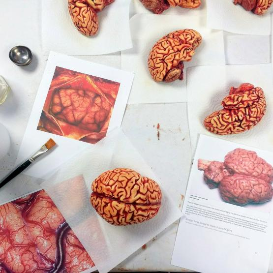Highly realistic chocolate human brains being painted with photographic references