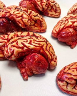 Multiple chocolate human brains laid on a white table