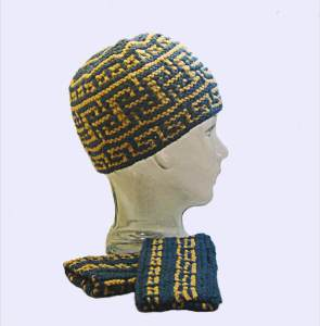 Mount Greco Hat and Mitts mosaic knitting pattern
