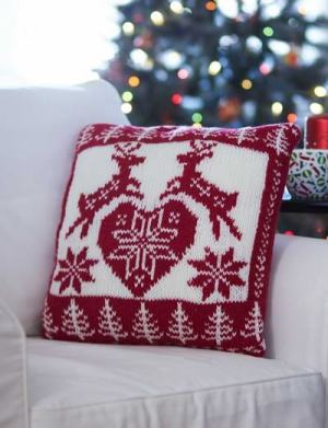 Bernat Nordic Holiday Pillow free knit pattern