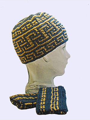 Mount Greco Hat and Mitts Knitting Pattern by Edie Eckman