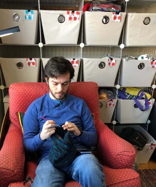 Charles crocheting
