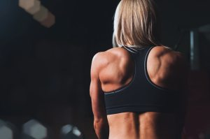 woman with back muscles