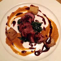 Perfectly pink roe deer with delicious carrot and lavender puré.