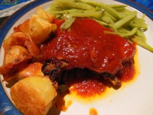 My dish of Pork with Hard Rock Cafe barbecue sauce