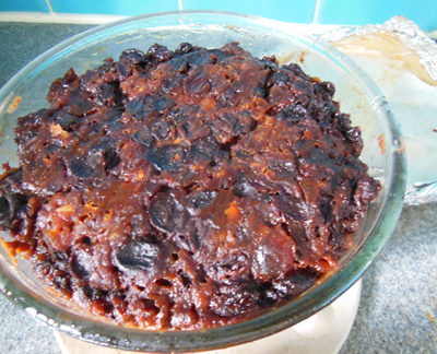 The Christmas pudding after cooking