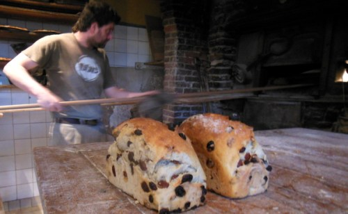 Taking the bread out of the oven
