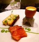 Smoked salmon, egg and soldiers