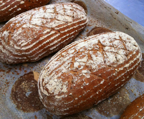 Beer Barm Bread - grains and seeds steeped in beer, folded into granary flour