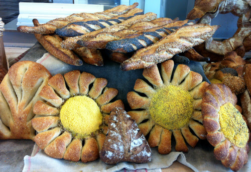 Just some of the breads we made.I particularly like the sunflowers or marguerites. The yellow stuff is maize.