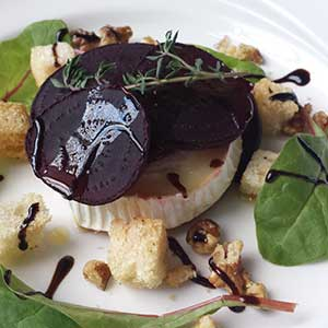 Goats cheese and beetroot stack. Good for you, as well as tasty.