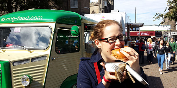 Stuffing my face with slow cooked ox cheek in a brioche bun from Loving Food.