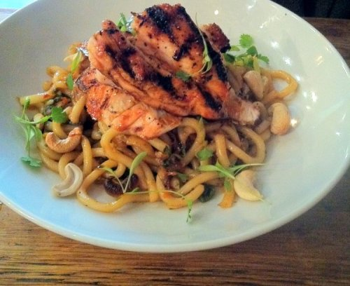 Sticky lemon chicken with udon noodles at the Blackbird