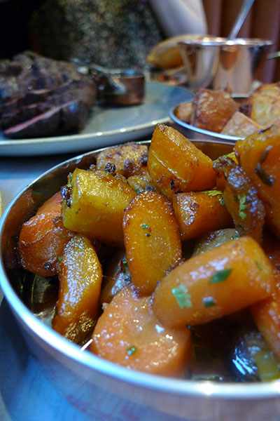 Roast veggies in the front, tatties and beef in the back.