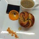 Coffee yeasted bun, coffee ice cream, coffee jelly square, dehydrated orange