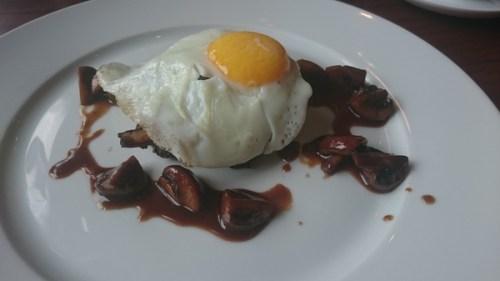 Mutton rumbledethumps, fried egg, wild garlic spinach