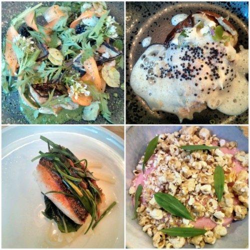 Dish #1: mackerell; #2: potato and crab; #4: hake and sea veg; #6: rhubarb and popcorn.