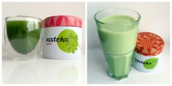 Matcha two ways: as a shot and as a soya latte.