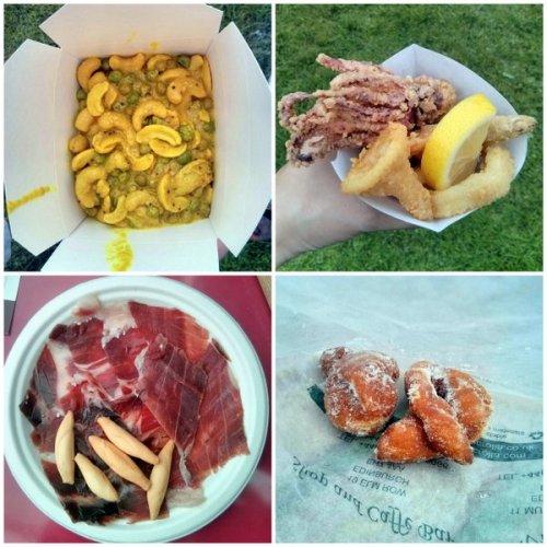 Cashew and pea curry, frito misto, jamon iberico, bombolini. Pickin' and mixin' in the sun. Foodies Festival, Edinburgh