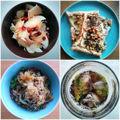 Apple and fennel salad, puff pastry za'atar flan, rice and lentils, pomegranate molasses drink.