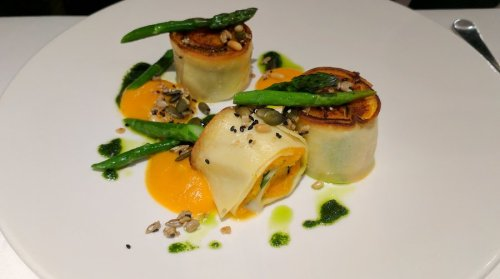 Butternut squash and spinach rotolo. Beautiful!