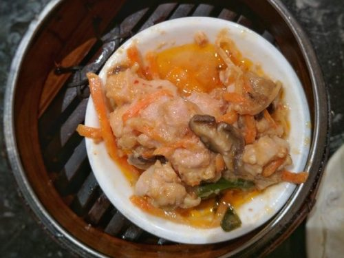 Chicken with fermented tofu sauce. Gently funky.