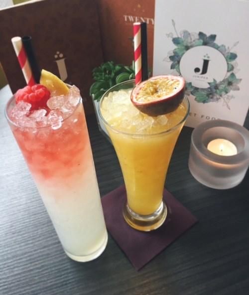 Edinburgh Bramble and Exotic Passion cocktails