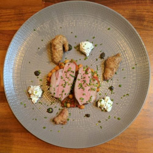 So simple, so wonderful: lamb rump with aubergine puré, homemade feta and sweetbreads.