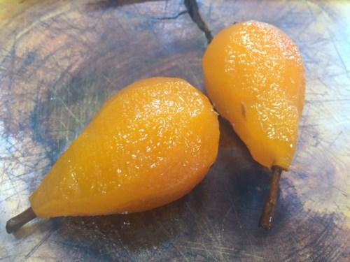 Pears in saffron and cinnamon syrup