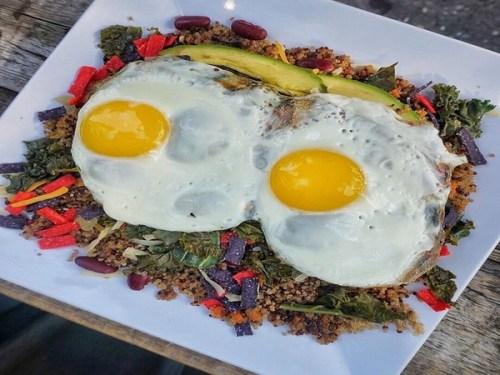 Quinoa feta and runny eggs