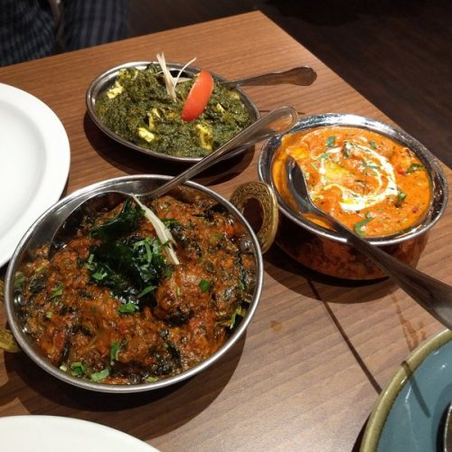 Mehti Gosht, saag paneer, butter chicken at Passage to India