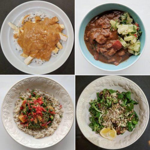 Crispy tofu with satay sauce, Jamaican stew, mushroom and lentil salad, sweet potato and peanut stew.