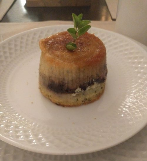 Aubergine and potato flan