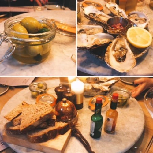Gordal olives; Loch Fyne oysters; and bread with marrow butter