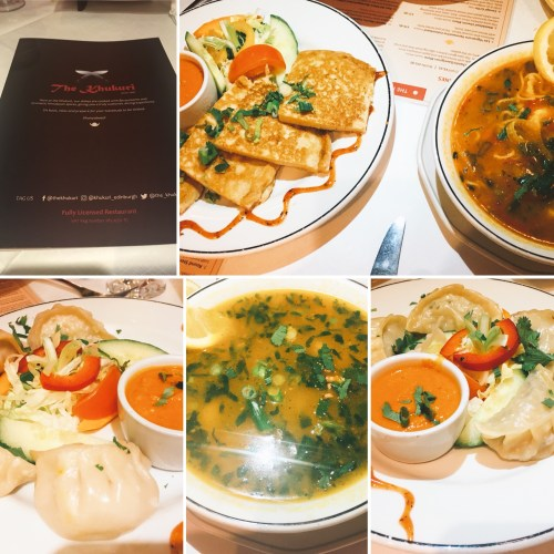 A selection of Nepalese starters - chicken and vegetable momos, bara, and Thukpa soup