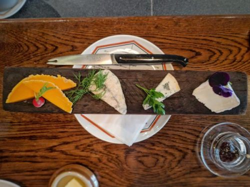Cheese board with herbs of the season enjoyed at Bar a vin.