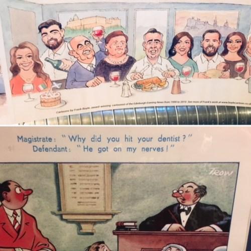 Frank Boyle's cartoons add an element of fun at Bertie's